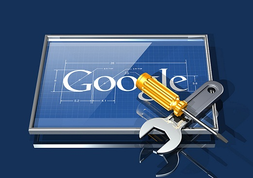 3d illustration of a large wrench and screwdriver lying over top of a framed Google logo with dimesions and callouts